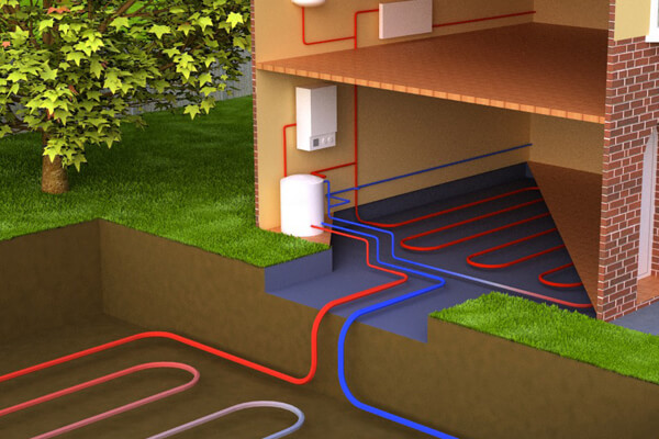 Ground source heat pump installation diagram