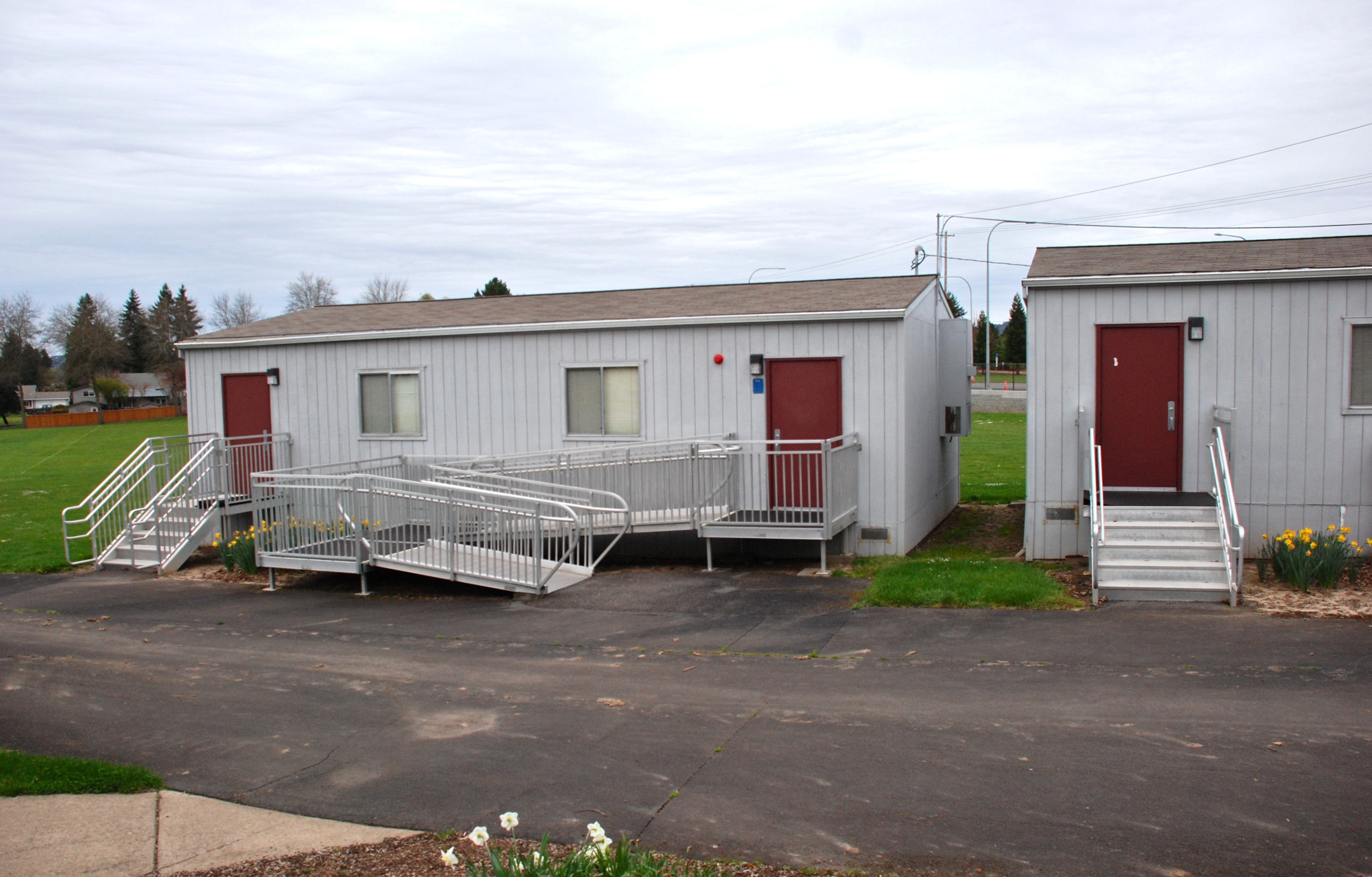 Demountable buildings like this can be used as offices when you hire event staff.